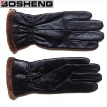 Новые женские зимние диски Теплые кожаные перчатки Кашемир выложены, черный
