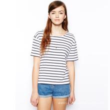 New Arrvial Senhoras Verão Short Sleeve Crew Preto T-shirt Stripe Branco para Mulheres