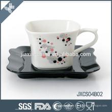Conjunto de taza de porcelana 180CC, taza pequeña con diseño de astilla