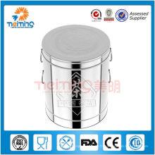 Grande boîte à thé ronde en acier inoxydable