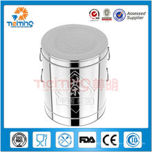 large round stainless steel tea bucket with lid