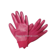 Colorful Garden Gloves Pink Nitrile Palm Coated Work Glove