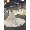 2018 Élégant Une Ligne Robes De Mariage Alibaba Manches Courtes Dentelle Doux Tulle Robe De Mariée Avec Bouton Retour