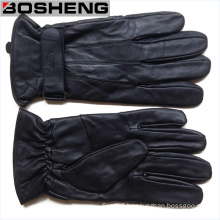 Fashion Winter Warm Men′s PU Leather Gloves with Strap