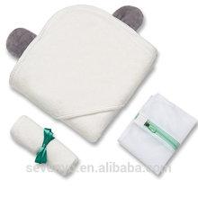 100% bamboo baby hooded bath towel baby Hooded towel Boys & Girls withbaer ears premium baby bath towel