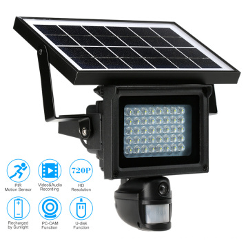 Solar powered CCTV IP PIR lámpara HD cámaras inalámbricas con reflector LED