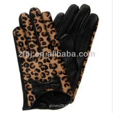 leopard print adorn leather glove