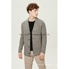Striped V Neck Blend Yarn Men Cardigan