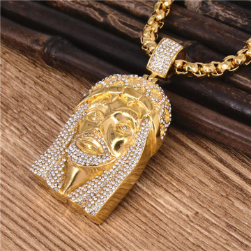 Iced Out Hip Hop Gold Jesus Stück Halskette