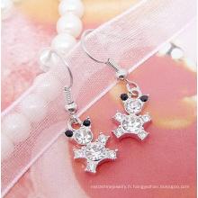 2015 vente chaude de bijoux en cristal de mode super mignon boucle d'oreille