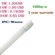 Tube de lumière de 9W / 14W / 18W / 24W 100lm / W PC / Nano LED T8 avec la garantie de 3 ans