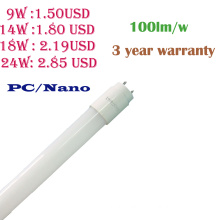 3 Year Warranty 9W/14W/18W/24W Nano/PC LED T8 Tube Light