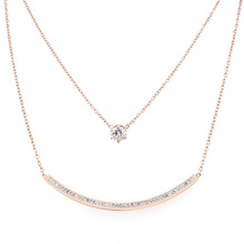 Minimalist Double Layered Rose Gold Crystal Zircon Smile Sign Inspiration Choker Chain Necklace