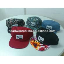 Costume 5 painel de impressão floral chapéus / 5 painel de cap / 5 painel flat brim chapéu