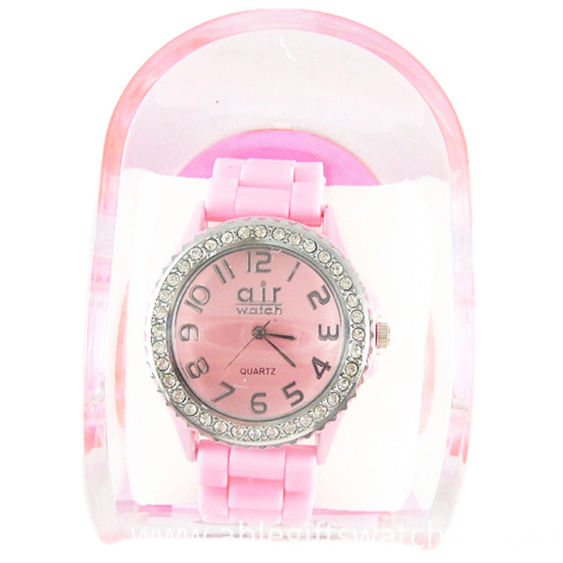 pink geneva watch