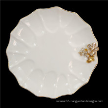 Hot Sale elegant white inlay gold and crystal flower dinner plate dish