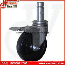 5-Zoll-Indoor-Gerüst-Caster mit rundem Stiel und Ring