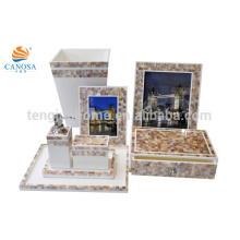 7pcs natural chinês MOP shell moldura de quadros caixa de armazenamento caixa de armazenamento Dom decoração dom definido