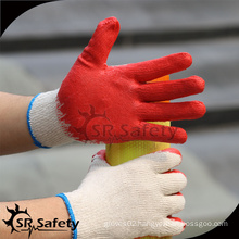 SRSAFETY cheap red latex rubber coated building work gloves for sale