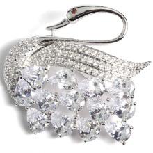 Moda Swan Feito à Mão Prata Broche Plated Receber Personalização