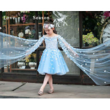 XXLF217 azul lindo bainha organza flores flor menina vestido padrões liso flor menina vestido