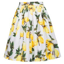 Grace Karin Retro Vintage 1950s Cotton Pleated Lemon Print Skirt CL6294-23