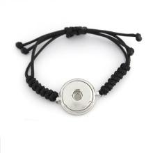 Custom Interchangeable Ginger Snap botão pulseiras com corda tecida