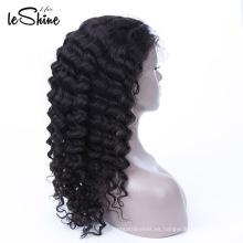 Cabello sin procesar 100% Remy peluca cabello humano 130% de densidad ajustable Cap para mujeres negras