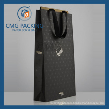 Luxury Customized Gold Logo UV Printing Paper Hand Bag (CMG-PGB-073)