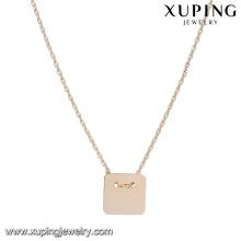 44168 africano jóias de ouro venda quente barato 18k delicado simples tipo ouro quadrado liga de cobre colar de jóias