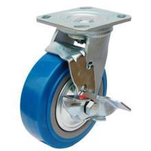 Roue à roulettes en PU robuste avec frein latéral (bleu)