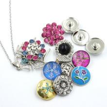 Snap Button Crystal Stones Pingente Colar Jóias Moda
