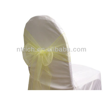 yellow, fancy vogue crystal organza chair sash tie back,bow tie,knot,wholesale pageant sashes