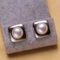 Square Freshwater AAA Button Fashion Fancy Pearl Earring