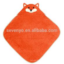 Serviette à capuchon infantile organique - renard, 100% coton biologique, cadeau de douche de bébé pour les filles et les garçons infantiles de Toddle, gardant le bébé chaud