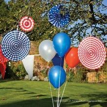 Decorações de papel impressas brancas e azuis vermelhas do fã, decorações de papel do partido do fã