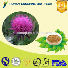 Meilleur prix de l'usine anti-radiation silybum marianum extrait de graine de chardon de lait 80% Silymarin