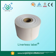 Linerless label for supermarket in rolls