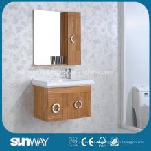 Muebles de baño de madera maciza montados en la pared con espejo