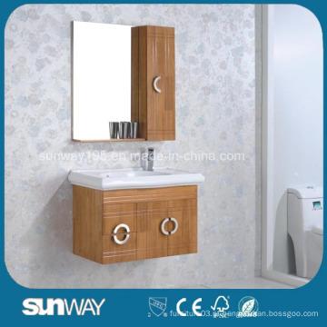 Móveis de parede de madeira sólida montados em parede com espelho