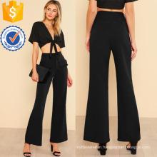 Frilled Faux Pocket Detail Pants Manufacture Wholesale Fashion Women Apparel (TA3094P)
