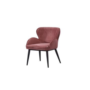 Hotel restaurant dining room chair modern red velvet high back armchair with black finish metal legs