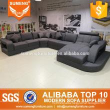 2017 high quality living room furniture full grey u shape fabric sofa