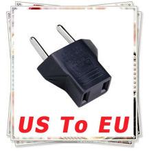 US USA A EU EURO Travel Adaptador de enchufe de corriente Black Conector de corriente alterna de USA (2-flat-pins) a europeo (2-rounds-pins)