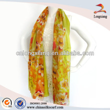 Spring Soft Chiffon Silk Digital Print Long Silk Scarf