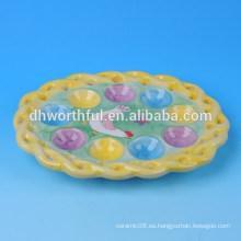 2016 Placa de huevo de cerámica de pollo de Pascua elegante