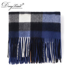 Winter Wool Scarf Knitting Pattern Checked Men Scarf Classic Plain Lambs Wool Scarf