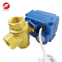 5v 12v 24v CWX-15N DN15 reduced bore Brass motorized three way ball valve