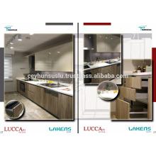 Fabricação turca Gabinete de cozinha de madeira com porta de membrana de pvc