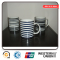 Stripe Decal Porcelain Mug for Daily Use